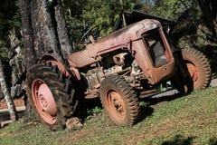Старое рыжеватокоричневое трактора припаркованное под деревом Стоковая Фотография