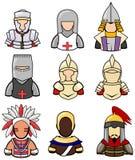 Старое собрание значка ратника установило 2 иллюстрация вектора