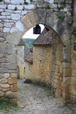 Старое средневековое в деревнях Beynac, долина Дордонь Стоковые Изображения RF