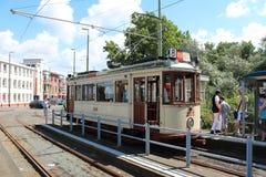 Старое строение трамвая HTM в 1920 названных HAWA которые restaurated и использовано для перемещений музея в Гааге стоковое изображение rf