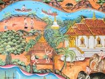 Старое тайское искусство стенной росписи стоковые фото