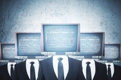 Старое ТВ возглавило бизнесменов иллюстрация вектора
