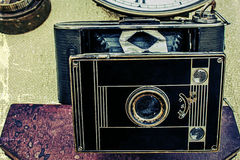 Старое фото с старой камерой 3 фото Стоковое Изображение RF
