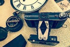 Старое фото с старой камерой фото Стоковая Фотография