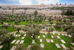 Старое cemetry в Иерусалиме Стоковое Фото