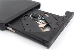Старое DVD-ROM в приводе на белизне стоковое изображение rf