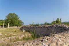 старое Nikopolis в церков preveza Греции paleochristian в замке мозаик culumns Nikolopils стоковые фото