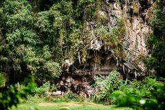 Старое torajan место захоронения в Londa, Tana Toraja Кладбище при гробы помещенные в пещере Rantapao, Сулавеси, Индонезия Стоковое Изображение RF