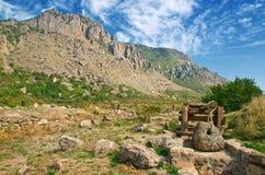 Старое trebuchet в стародедовском замоке Стоковое Изображение RF
