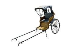 Старой винтажной китайской рикша вытягиванная рукой изолированная на белом backg Стоковое Изображение RF