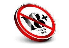 18 старой лет концепции предупредительного знака с объектом влияния 3d стоя Стоковая Фотография
