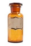 Старомодная бутылка лекарства при изолированный ярлык, Стоковая Фотография