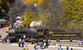 Старомодный локомотив пара в сельском Мэриленде Стоковые Фотографии RF