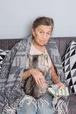 Старость темы, здравоохранение одиночества старая grayhaired кавказская женщина с глубокими морщинками сидя с котом домашнего жив стоковое изображение rf