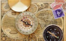стародедовский сбор винограда карты компаса старый Стоковое Изображение