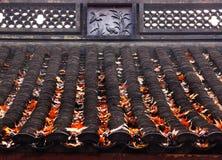 Стародедовское китайское озеро листь осени конструкций птиц крыши дома западное Стоковые Фотографии RF