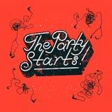 Старты партии! Типографский дизайн плаката партии с запутанными наушниками вектор иллюстрации ретро Стоковое фото RF