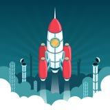 Старт равновеликой ракеты 3d в космос иллюстрация штока