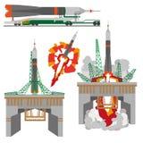 Старт ракеты космоса на белой предпосылке Стоковые Изображения RF
