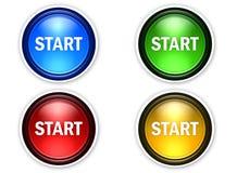 старт цвета 4 кнопок Стоковая Фотография