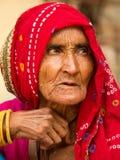 Старуха в Раджастхане Стоковая Фотография