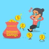 Старуха шаржа с сбережениями выхода на пенсию кладет в мешки и монетки Стоковые Фотографии RF