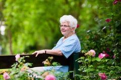 Старшая дама в розарии Стоковые Фотографии RF