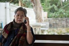 Старшая беседа женщины на мобильном телефоне пока сидящ на стенде в garde Стоковая Фотография