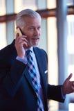 Старшая беседа бизнесмена на мобильном телефоне Стоковая Фотография RF