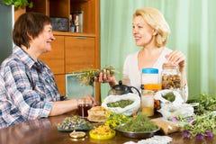 Старшая женщина выпивая травяной чай Стоковые Фото