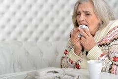 Старшая женщина имеет грипп стоковые изображения rf