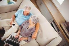 Старшая женщина используя компьтер-книжку в живущей комнате Стоковая Фотография