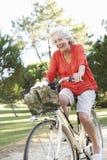 Старшая женщина наслаждаясь ездой цикла Стоковая Фотография