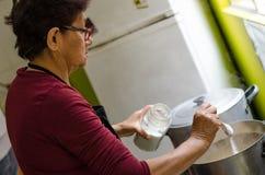 Старшая женщина подготавливая здоровую еду от свежих овощей стоковое изображение rf