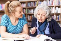 Старшая женщина работая с учителем в библиотеке стоковые фотографии rf