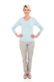Старшая женщина стоя белый стоковое фото rf