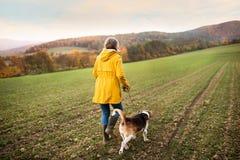 Старшая женщина с собакой на прогулке в природе осени Стоковые Изображения