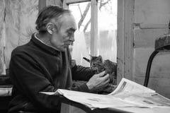 Старшая игра с котятами Стоковые Фото