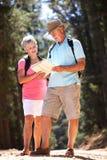 Старшая карта чтения пар на прогулке страны Стоковое Изображение RF