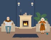 Старшая пара сидит в живущей комнате около камина иллюстрация штока