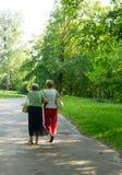 Старшая прогулка парка женщин Стоковая Фотография