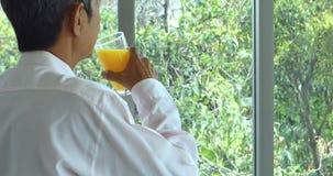Старшее азиатское положение человека, выпивая апельсиновый сок сток-видео