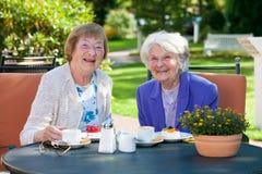 Старшие женские лучшие други ослабляя на таблице Стоковое Фото