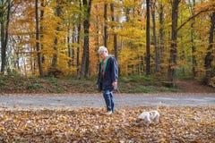 Старшие женщина и собака Стоковое Изображение
