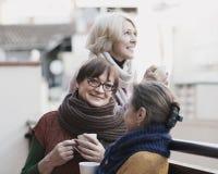 Старшие женщины выпивая чай на балконе Стоковое Изображение RF
