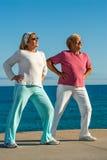 Старшие женщины делая тренировку outdoors. Стоковая Фотография