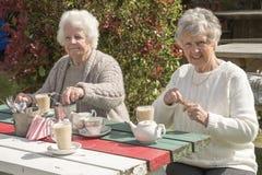 Старшие женщины имея кофе outdoors Стоковое фото RF