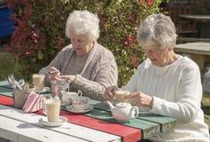 Старшие женщины имея кофе outdoors Стоковая Фотография