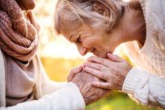 Старшие женщины на прогулке в природе осени Стоковое Изображение RF
