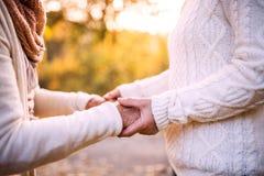 Старшие женщины на прогулке в природе осени Стоковые Фото